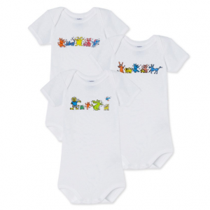 SET OF THREE PETIT BATEAU X KEITH HARING BABY BODYSUITS