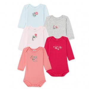 SET OF 5 BABY GIRLS PLAIN SILKSCREENED BODYSUITS