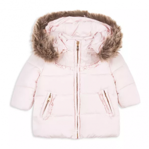 Tartine et Chocolat Girls' Quilted Coat with Faux-Fur Trim - Baby