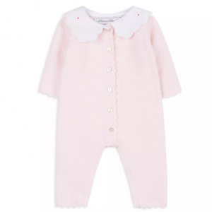Tartine et Chocolat Girls' Poplin Collar Textured Knit Playsuit - Baby