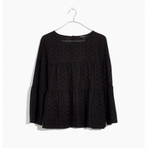 Eyelet Tiered Button-Back Top