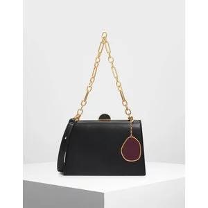 Stone Charm Top Handle Bag