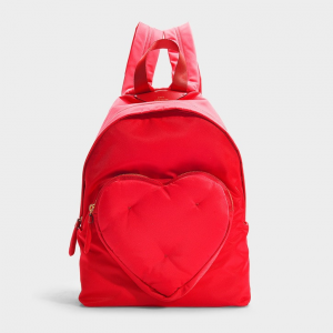 anya hindmarch CHUBBY HEART BACKPACK IN RED NYLON