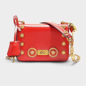 versace ICON SHOULDER BAG WITH MEDUSA STUDS IN RED CALFSKIN