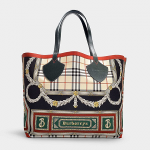burberry THE GIANT TOTE IN DARK FOREST GREEN AND BURGUNDY COTTON