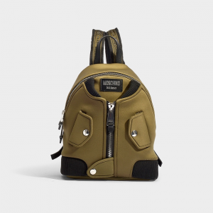 moschino BOMBER BACKPACK IN KHAKI SYNTHETIC MATERIAL