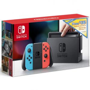 Nintendo Switch w/ Neon Blue & Neon Red Joy Con + $35 Nintendo eShop Credit Download Code @ Amazon