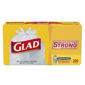 Glad Quick-Tie Tall Kitchen Trash Bags - 13 Gallon - 200 Count (15931)