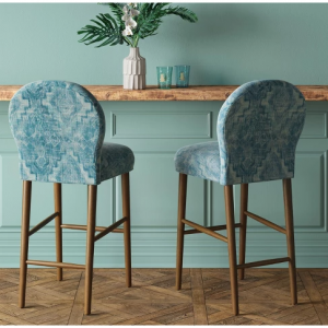 "32"" Caracara Rounded Back Barstool Blue Woven Design - Opalhouse"