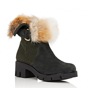 SEE ALL IMAGES MR & MRS ITALY Fur-Collar Suede & Felt Ankle Boots