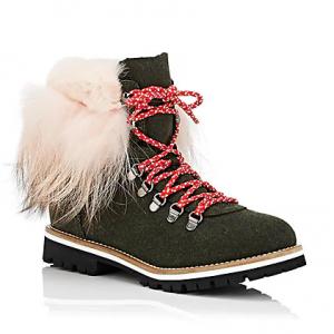 MR & MRS ITALY Fur-Cuff Felt Hiker Boots