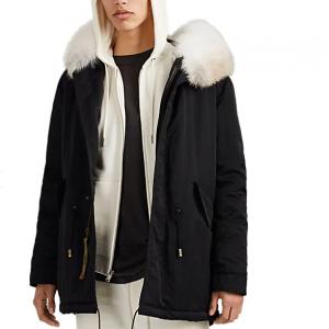 MR & MRS ITALY Fur-Trimmed Polished Twill Down Midi-Parka