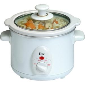 Elite Cuisine MST-250XW 1.5-Quart Round Slow Cooker, White