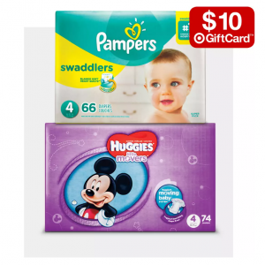 Free $10 gift card when you buy 2 packs of select diapers @ Target