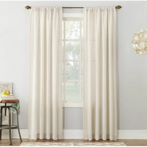 Linen Blend Textured Sheer Rod Pocket Curtain Panel - No. 918