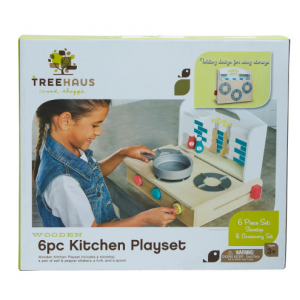 TREEHAUS 6pc Wooden Toy Kitchen Play Set