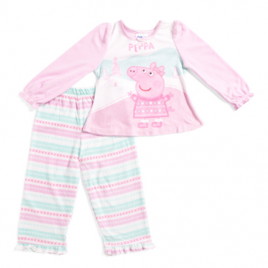 KOMAR KIDS Toddler Girls Peppa Pig Micro Fleece Fair Isle Sleep Set