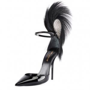 Saint Laurent Jamie Patent Fur-Trimmed Ankle Pumps