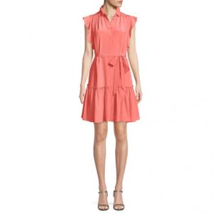 kate spade new york silk dress w/ ruffle sleeves & collar