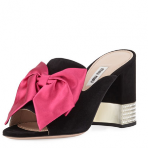 Miu Miu Suede Slide Sandals with Bow
