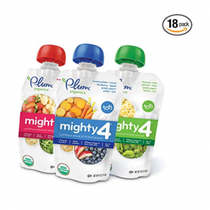 Plum Organics Mighty 4, Organic Toddler Food, Variety Pack, 4 ounce pouch (Pack of 18)