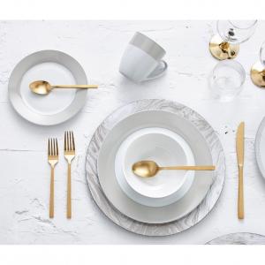 Safdie & Co. 16-Piece Round Rim Dinnerware Set, Taupe, Band