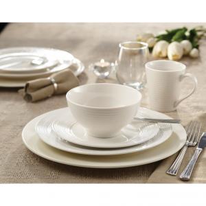 Safdie & Co. 16-Piece Round Rim Linea Dinnerware Set, White, Embossed