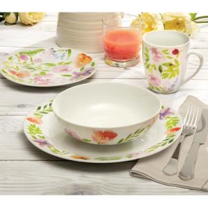 Safdie & Co. 16-Piece Dinnerware Set, Pink, Watercolour