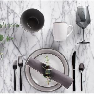 Safdie & Co. 16-Piece Dinnerware Set, Grey, 2 Tone