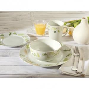 Safdie & Co. 16-Piece Dinnerware Set, White, Greenery
