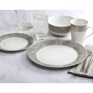 Safdie & Co. 16-Piece Dinnerware Set, Cement, Band