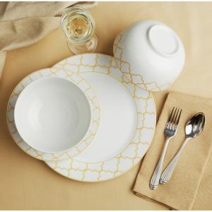 Safdie & Co. 12-Piece Dinnerware Set, Gold, Jacquard