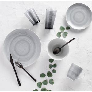 Safdie & Co. 16-Piece Porcelain Dinnerware Set, Grey Stone