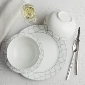 Safdie & Co. 12-Piece Dinnerware Set, White, Silver Scale