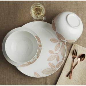 Safdie & Co. 12-Piece Dinnerware Set, Rose Gold, Foliage