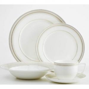 Safdie & Co. 20-Piece Milano Dinnerware Set, Taupe & Gold, Rim