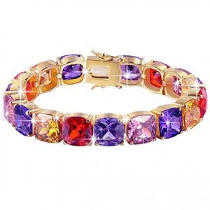 BRILLA Gifts for Women Rose Gold Plated Multicolor Cubic Tennis Zirconia Zircon Bracelet