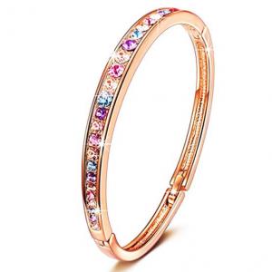 """BRILLA Women 7"""" Bracelet Bangle Fashion Jewelry with Swarovski Crystals"""