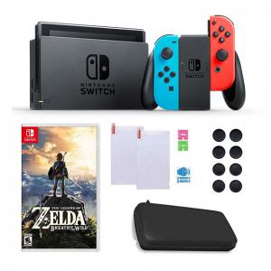 Nintendo Switch with Neon Joy-Con, Zelda & Accessories