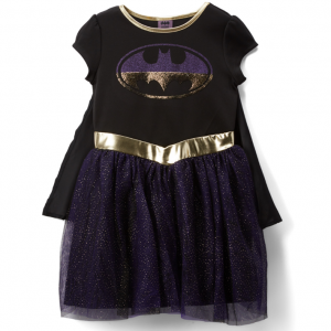 Batgirl Black & Purple Sparkle Cape-Accent A-Line Dress - Girls