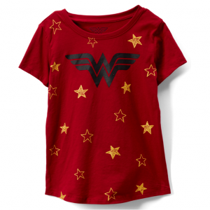 Wonder Woman Red Stars Scoop Neck Tee - Girls