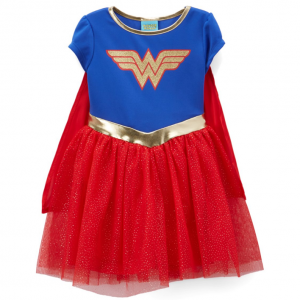 Wonder Woman Blue & Red Emblem Dress - Toddler & Girls