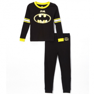 Batman Black Long-Sleeve Pajama Set - Boys