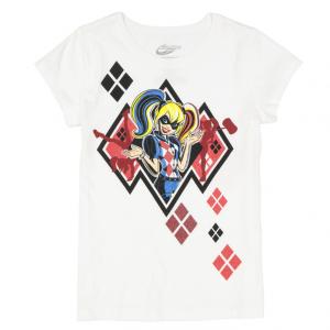 Harley Quinn White Logo Tee - Girls