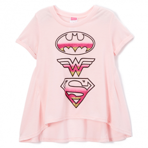DC Comics Blush Fade Logos Tee - Girls