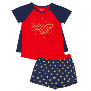 Wonder Woman Red & Navy Two-Piece Cape Pajama Set - Girls