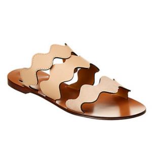 Chloé Lauren Scalloped Leather & Suede Sandal