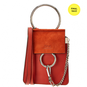 Chloe Faye Small Leather & Suede Bracelet Bag
