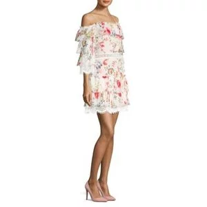 Alice + Olivia Santos Cold-Shoulder Ruffle Dress