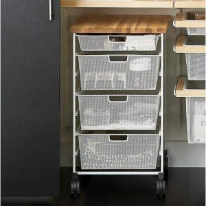 White Elfa 7-Runner Mesh Kitchen Prep Cart, DIY